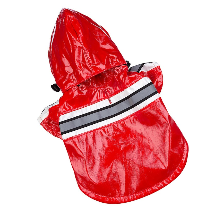 Pet Life Reflecta-Glow Adjustable Reflective Dog Raincoat – Red