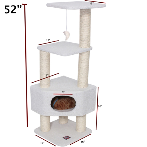 52 INCH BUNGALOW CAT TREE CLIMBER & SCRATCHER BY MAJESTIC BEIGE