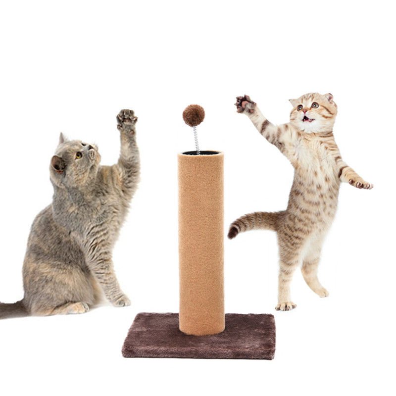 CLASSY KITTY SCRATCHING POST WITH SPRING BALL TOY TEASER 16″ HIGH